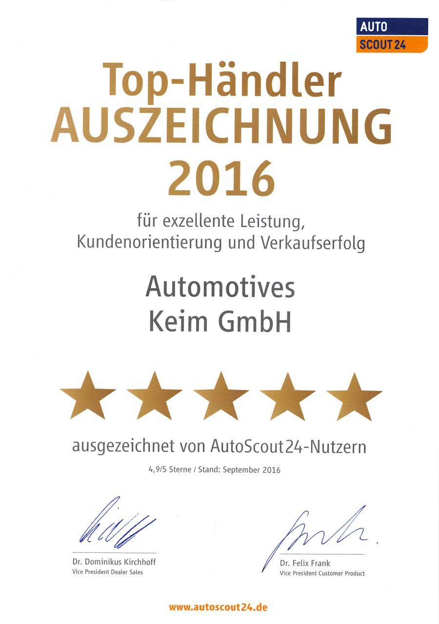 Automotives Keim erhält Autoscout 24 Auszeichnung für hervorragende Leistung und Verkaufserfahrung 2016 ...